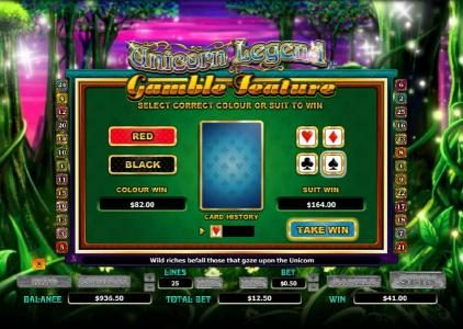 Unicorn Legend :: gamble feature game board - select correct color or suit to win
