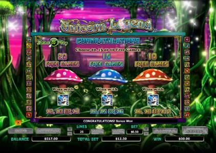 Unicorn Legend :: choose 20, 15 or 10 free games