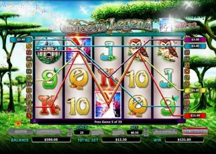 Fun Casino featuring the Video Slots Unicorn Legend with a maximum payout of $4,000