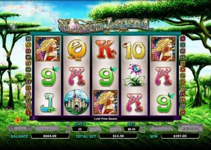 Vegas Winner featuring the Video Slots Unicorn Legend with a maximum payout of $4,000