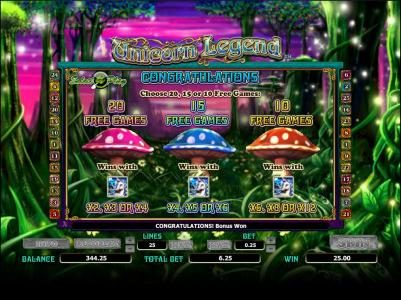 choose 20, 15 or 10 free games with differing multiplers