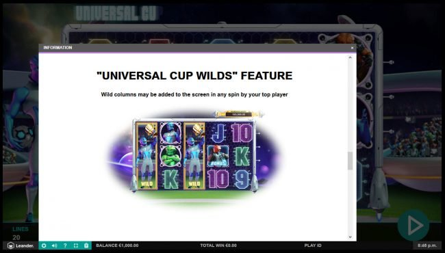 Maxino featuring the Video Slots Universal Cup with a maximum payout of $50,000