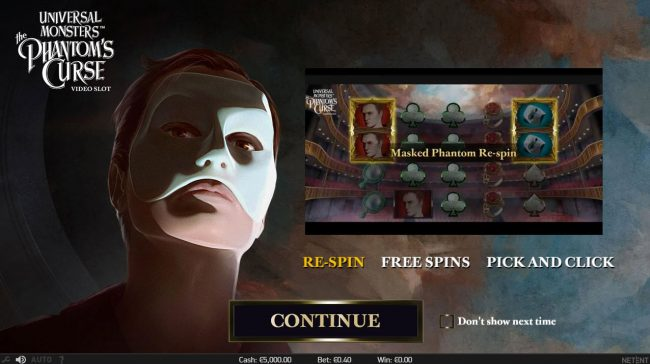 Free Spins featuring the Video Slots Universal Monsters The Phantom's Curse with a maximum payout of $400,000