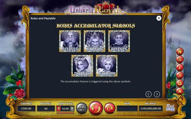 Unlikely Royals :: Bonus Accumulator Symbols
