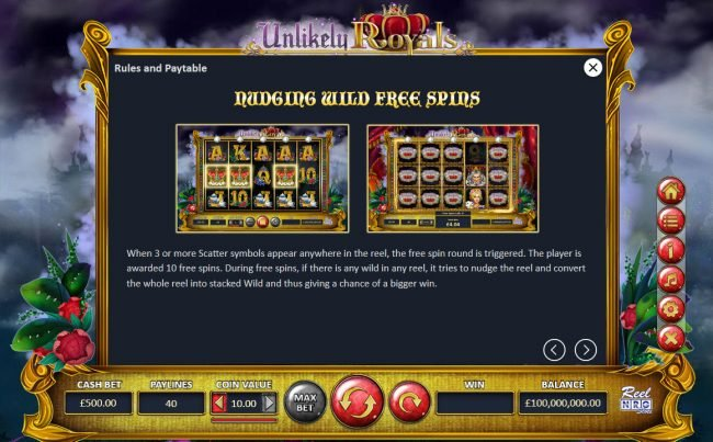 Unlikely Royals :: Nudging Wild Free Spins