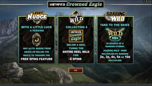 Untamed Crowned Eagle :: Lucky Nudge, Collect a Wild and Soaring Wild game features,