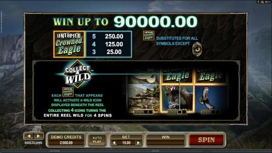 21 Jackpots featuring the Video Slots Untamed Crowned Eagle with a maximum payout of $90,000