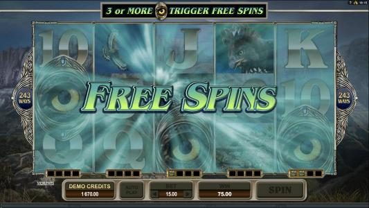 Free spins feature triggered
