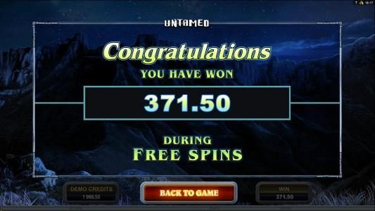 Untamed Crowned Eagle :: The free spins feature pays out a total of $371