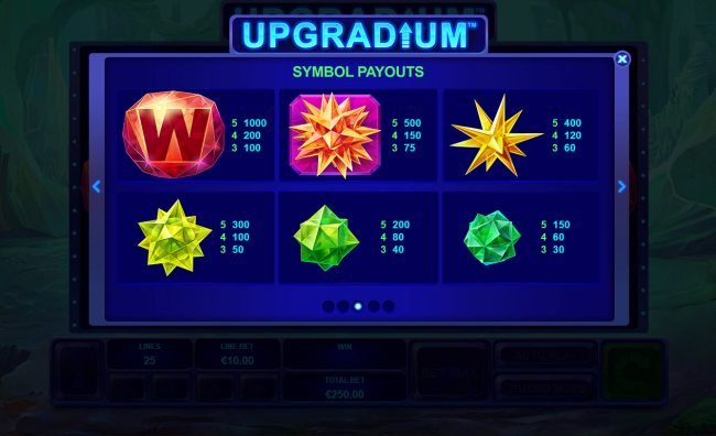 Royal Dice featuring the Video Slots Upgradium with a maximum payout of $250,000