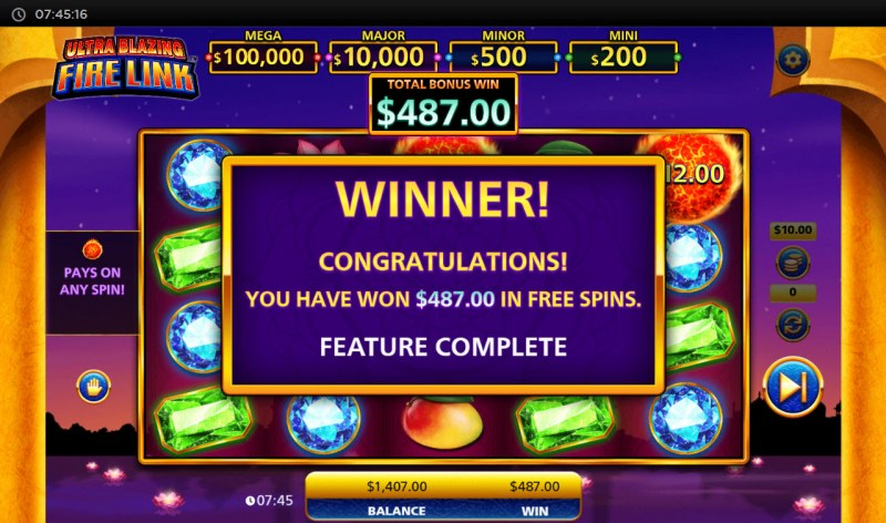 Ultra Blazing Fire Link :: Total Free Spins Payout