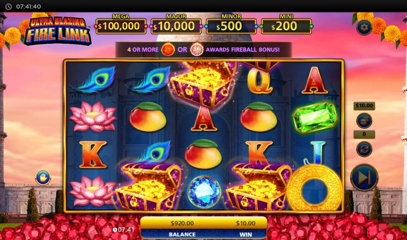 Ultra Blazing Fire Link :: Scatter symbols triggers the free spins bonus feature