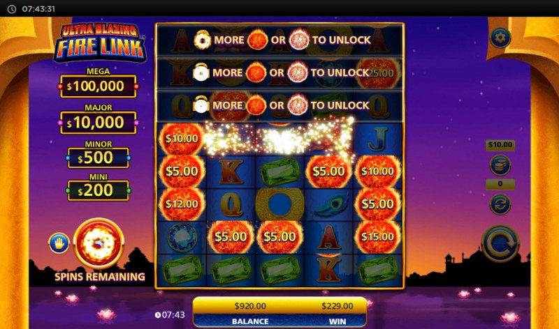 Ultra Blazing Fire Link :: Land fireball money symbols to expand the reels and winnings