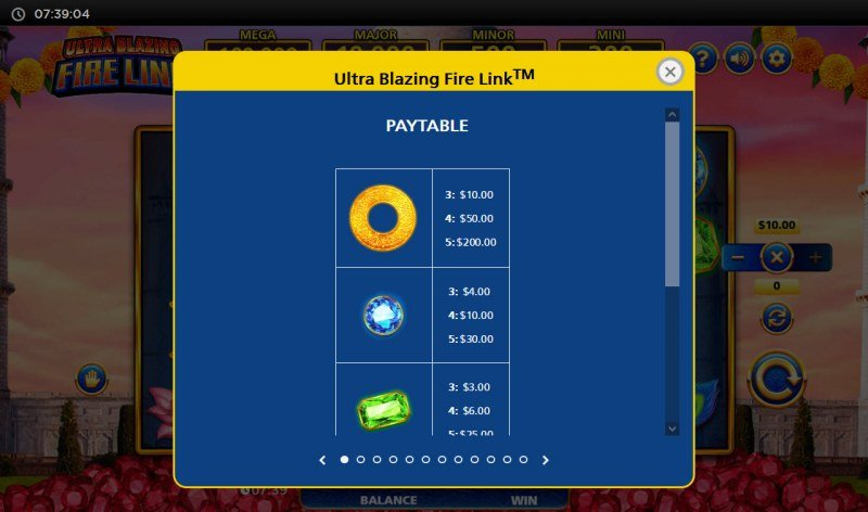 Ultra Blazing Fire Link :: Paytable - High Value Symbols