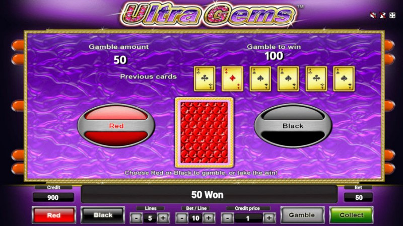 Ultra Gems :: Red or Black Gamble Feature