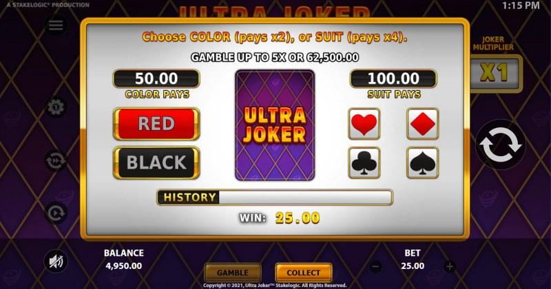 Ultra Joker :: Gamble feature