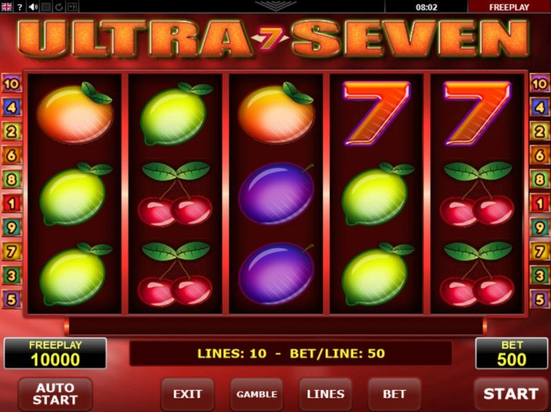 Play slots at CasinoCasino: CasinoCasino featuring the Video Slots Ultra Seven with a maximum payout of $250,000