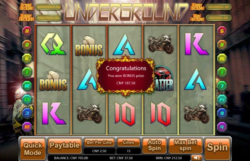 Underground :: Total bonus payout