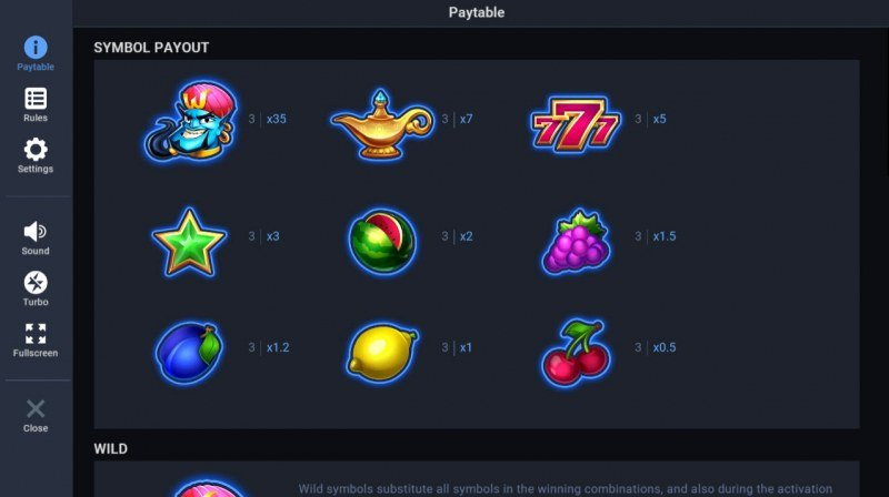 Unlimited Wishes :: Paytable