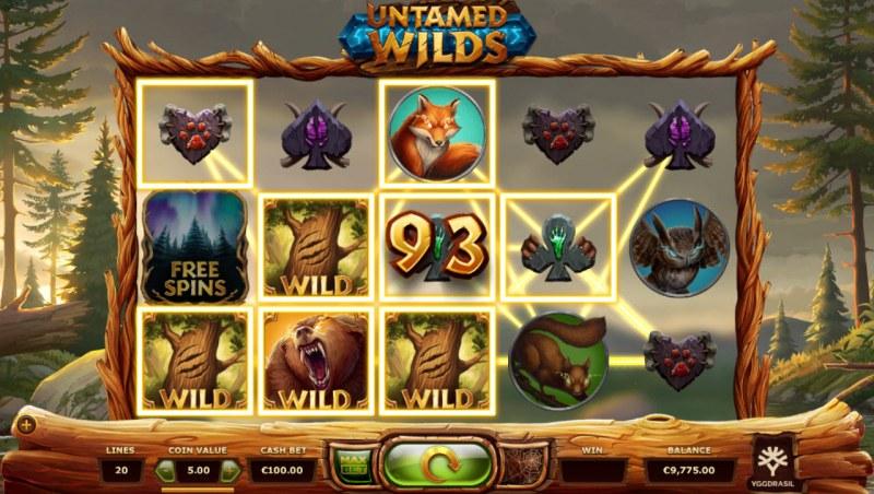 Untamed Wilds :: Multiple winning paylines
