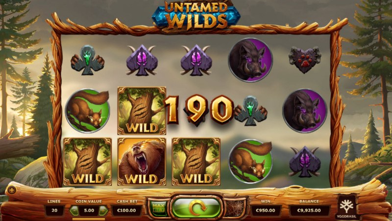 Untamed Wilds :: A three of a kind win