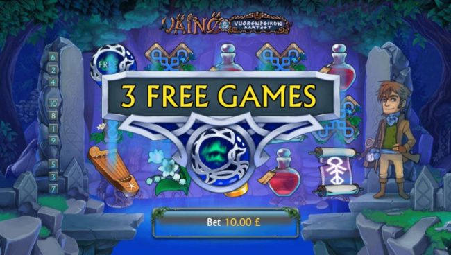 Three free spins scatter symbols awards 3 free games.