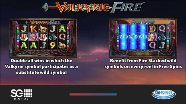 Play slots at Vegas Spins: Vegas Spins featuring the Video Slots Valkyrie Fire with a maximum payout of $250,000