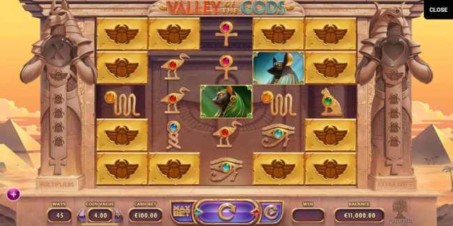 Valley of the Gods :: Main game board featuring five reels and up to 3125 ways to win with a $580,000 max payout.