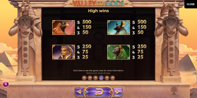 Play slots at Genesis Casino: Genesis Casino featuring the Video Slots Valley of the Gods with a maximum payout of $580,000