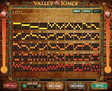 Betway featuring the Video Slots Valley of the Kings with a maximum payout of $7,500