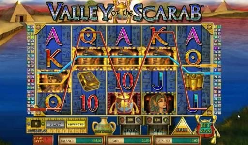 Casinia featuring the Video Slots Valley of the Scarab with a maximum payout of $750,000