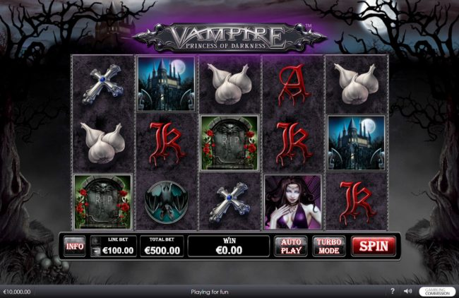 LesA Casino featuring the Video Slots Vampire Princess of Darkness with a maximum payout of $3,750,000