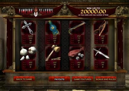 Vampire Slayers :: slot game symbols paytable