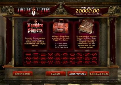 Vampire Slayers :: bonus game rules and payline diagrams