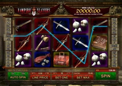 Vampire Slayers :: multiple winning paylines triggers a $136 jackpot