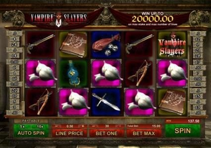 Vampire Slayers :: a $137 jackpot triggered by multiple winning paylines