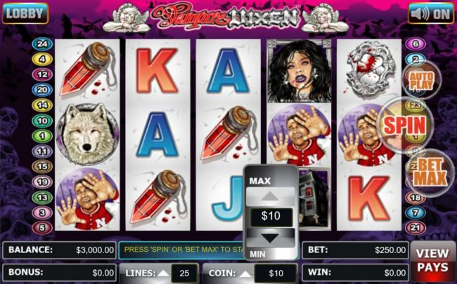 Liberty Slots featuring the Video Slots Vampire Vixen with a maximum payout of $40,000