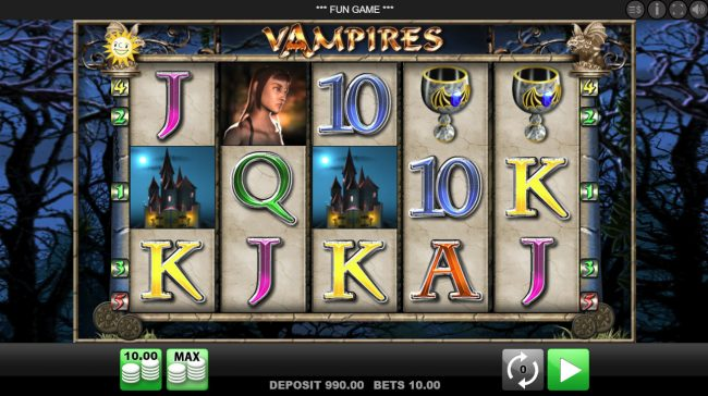 Queen Vegas featuring the Video Slots Vampires with a maximum payout of $10,000