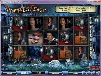 Play slots at Vegas Winner: Vegas Winner featuring the Video Slots Vampires Feast with a maximum payout of $100,000