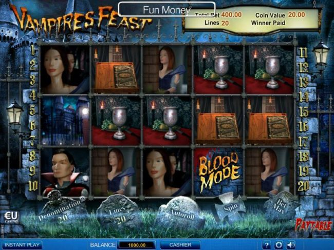 Main game board based on the Dracula vampire theme, featuring five reels and 20 paylines with a $100,000 max payout