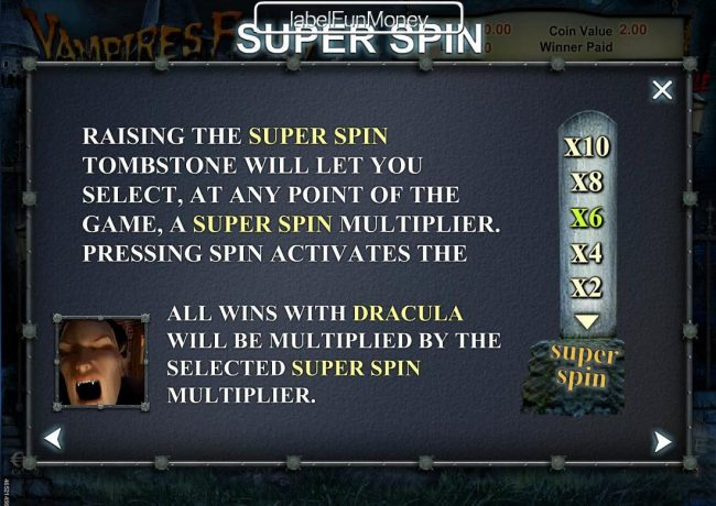 Slots Magic featuring the Video Slots Vampires Feast Super Spin with a maximum payout of $10,000