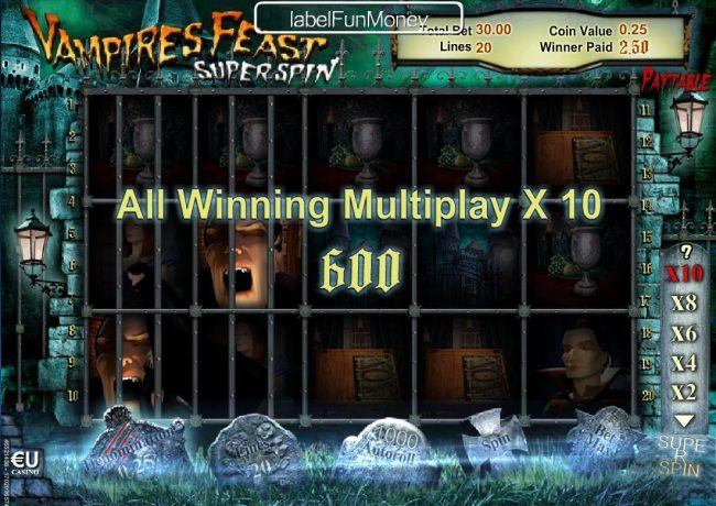 Euro King featuring the Video Slots Vampires Feast Super Spin with a maximum payout of $10,000