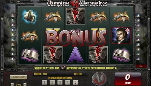 Mega Casino featuring the Video Slots Vampires vs Werewolves with a maximum payout of 37500x