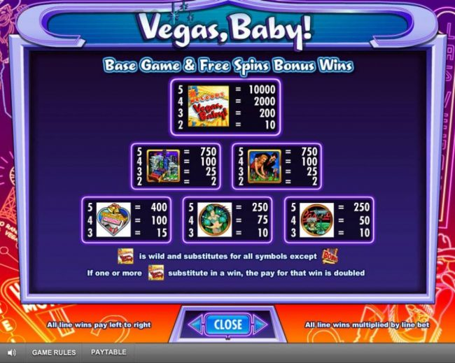 Moon Games featuring the Video Slots Vegas, Baby! with a maximum payout of $250,000