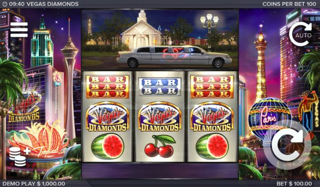 Deuce Club featuring the Video Slots Vegas Diamonds with a maximum payout of $200,000