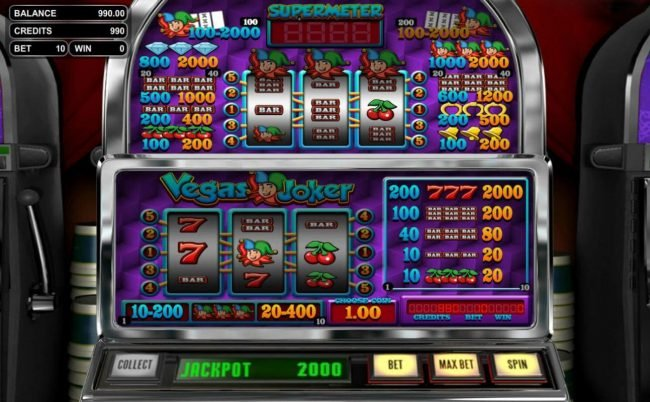 Carbon Casino featuring the Video Slots Vegas Joker with a maximum payout of $10,000