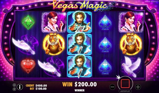 Vegas Magic :: Stacked wilds triggers a win