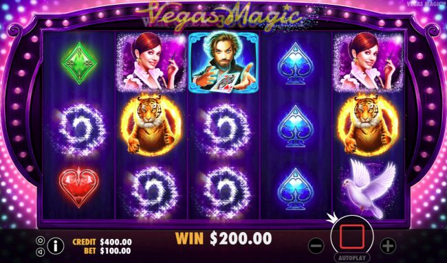 Vegas Magic :: Winning combinations are removed from the reels and new symbols drop in place