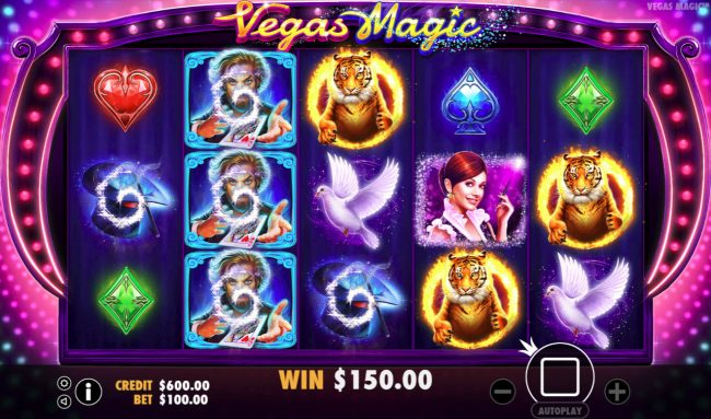 Oshi featuring the Video Slots Vegas Magic with a maximum payout of $50,000