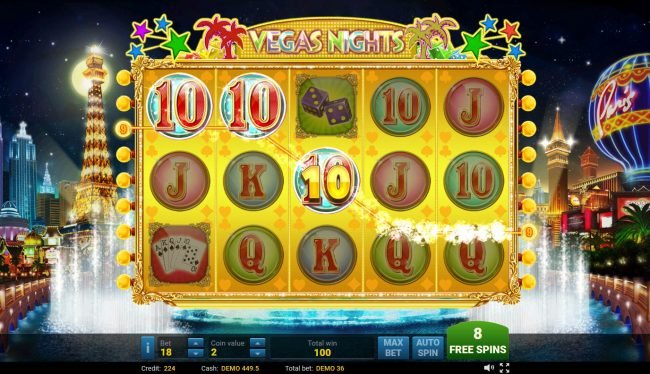 Vegas Nights :: Free Spins Game Board